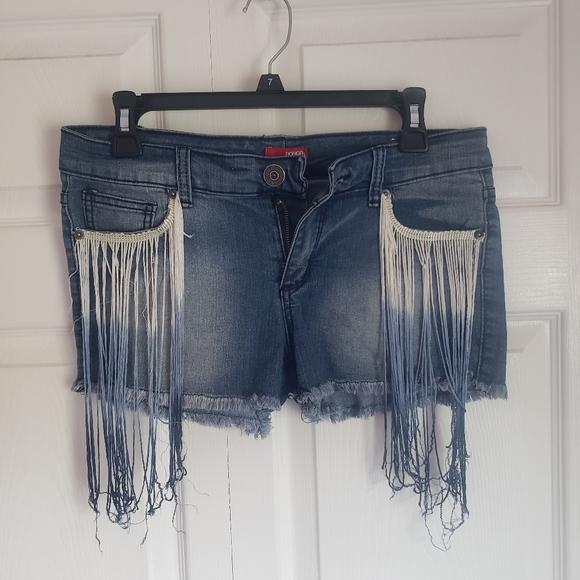 Fringe jean shorts